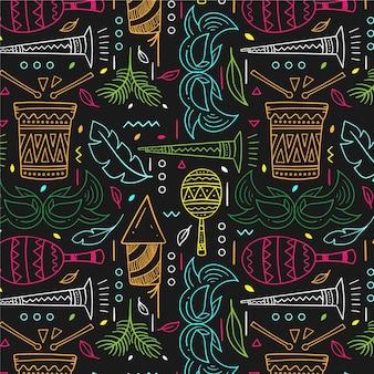 Desenho colorido padrão de carnaval brasileiro