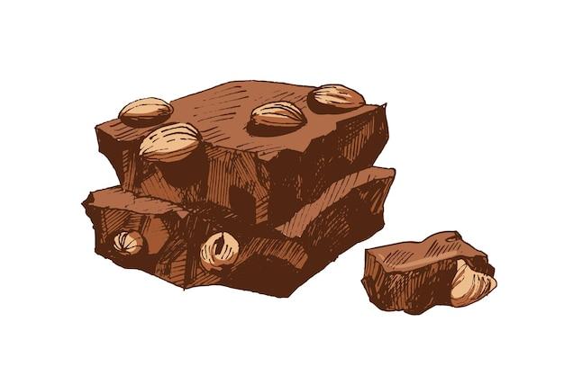 Desenho colorido realista vintage de pedaços de barra de chocolate quebrada.