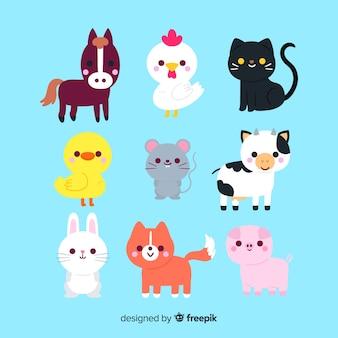 Desenho com coleção de animais fofa