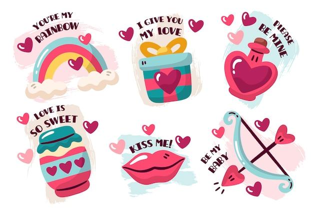 Desenho com coleção de distintivo de dia dos namorados