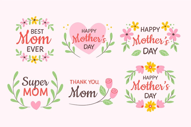 Desenho com coleção de etiquetas de dia das mães