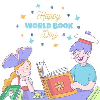 Desenho com o conceito de dia mundial do livro