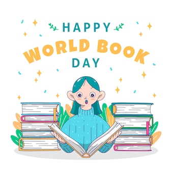 Desenho com o dia mundial do livro