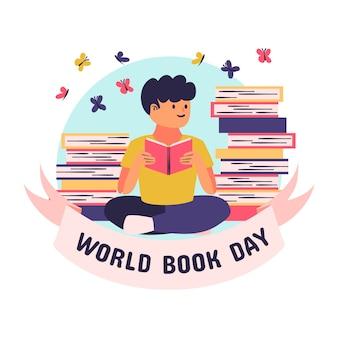 Desenho com tema do dia mundial dos livros
