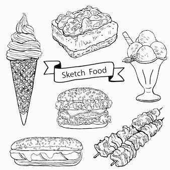 Desenho comida doodle conjunto