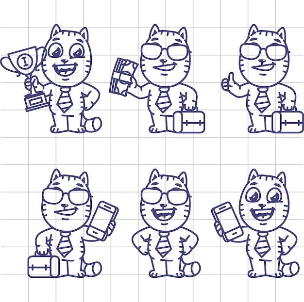 Desenho conjunto gato caráter homem de negócios segurando copo de dinheiro mala ilustração vetorial telefone