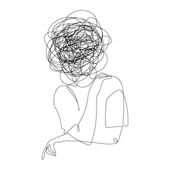 Desenho contínuo de uma linha de uma mulher com sentimentos confusos preocupada com problemas de saúde mental ...