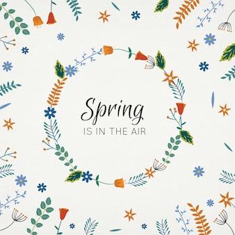 Desenho coroa de flores na primavera