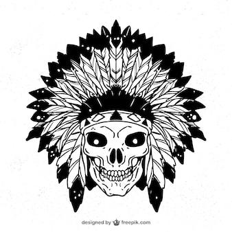 Desenho crânio indiano com penas