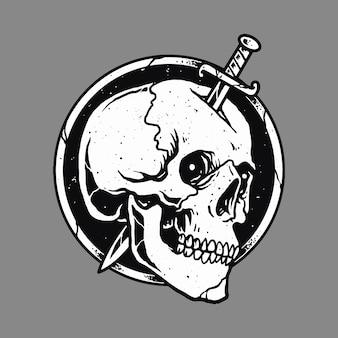 Desenho da arte da ilustração da espada do terror do crânio