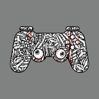 Desenho da arte da ilustração do controle do jogo de terror no crânio