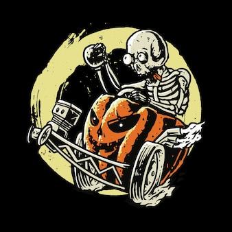 Desenho da arte da ilustração do crânio de terror e halloween
