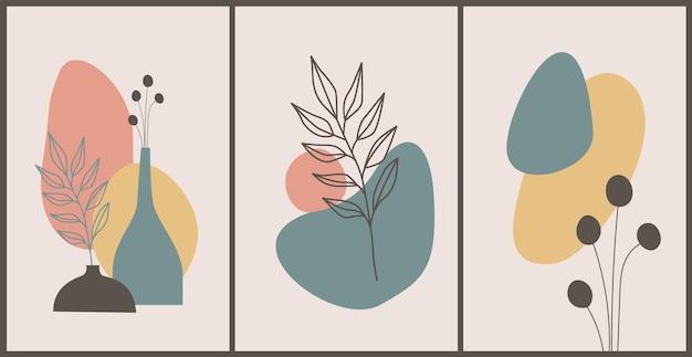 Desenho da arte da linha da folhagem do boho tom da terra. formas, folhas de palmeira e vasos. design floral tropical.