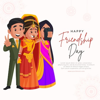 Desenho da bandeira do feliz dia da amizade ilustração do estilo dos desenhos animados