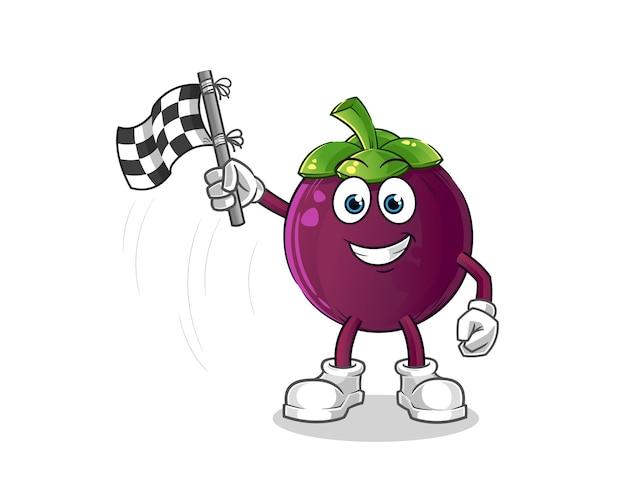 Desenho da bandeira do mangostão, mascote do cartoon