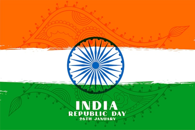 Desenho da bandeira tricolor do dia da república indiana