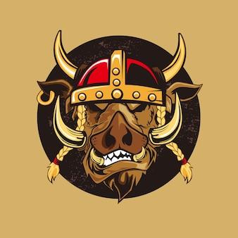 Desenho da cabeça de viking wilboar