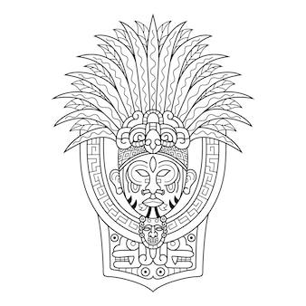 Desenho da cabeça do chefe tribal no estilo zentangle