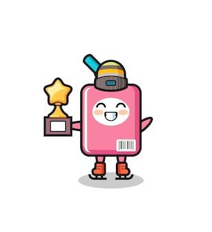 Desenho da caixa de leite como um jogador de patinação no gelo com troféu de vencedor, design de estilo fofo para camiseta, adesivo, elemento de logotipo