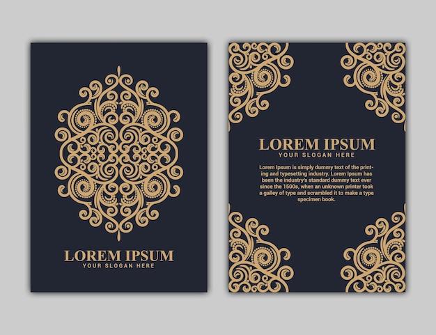 Desenho da capa do livro em tamanho a4. relatório anual. projeto em formato de flor. padrão simples. folheto, promoção