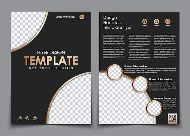 Desenho da capa e verso em cor preta com elementos dourados. modelo de folheto com espaço para fotos e código qr.