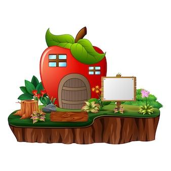 Desenho da casa da maçã com uma placa em branco na ilha