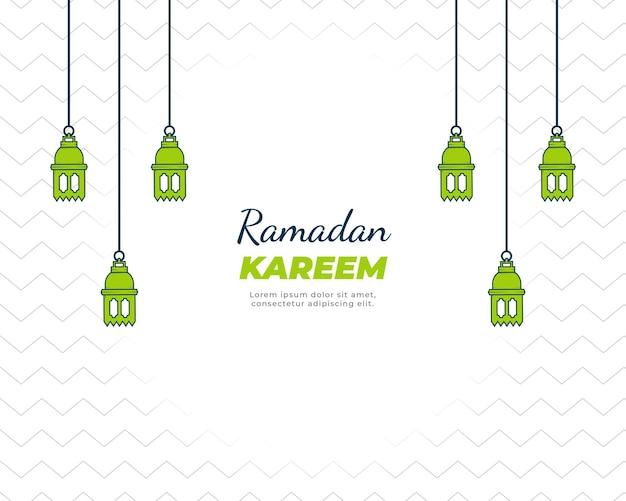 Desenho da celebração do ramadan kareem com lanterna verde