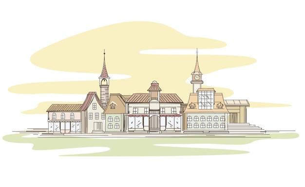 Desenho da cidade em estilo de linha retrô