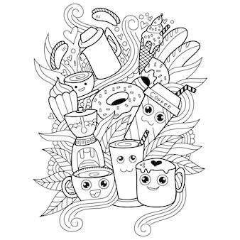 Desenho da coleção cute coffe em estilo doodle