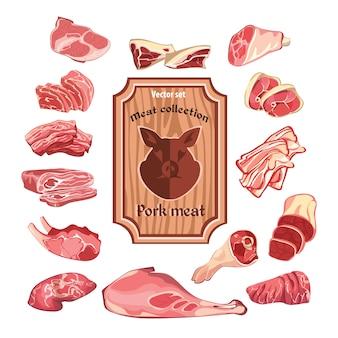 Desenho da coleção de elementos de carne colorida