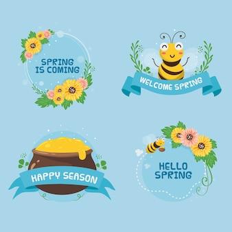 Desenho da coleção de etiquetas de primavera