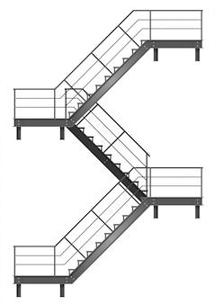 Desenho da escada de incêndio para a fachada