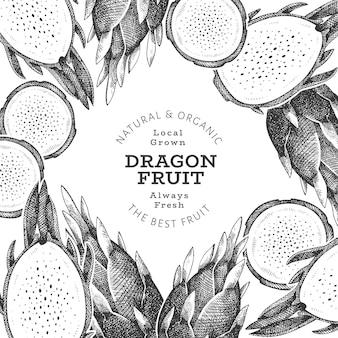 Desenho da fruta do dragão desenhado à mão ilustração de alimentos frescos orgânicos.
