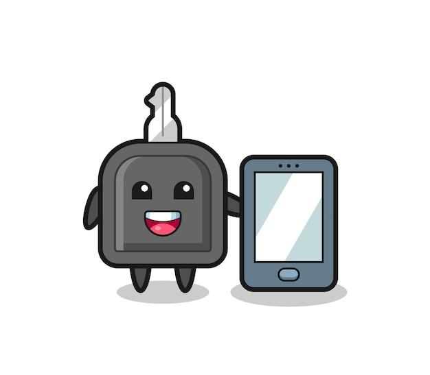Desenho da ilustração da chave do carro segurando um smartphone, design de estilo fofo para camiseta, adesivo, elemento de logotipo