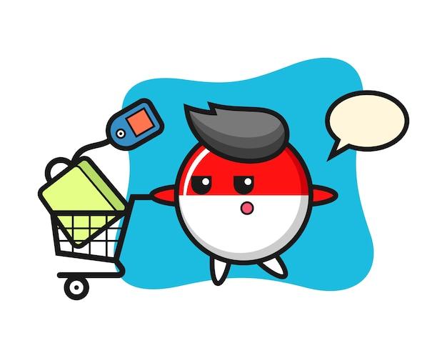 Desenho da ilustração do distintivo da bandeira da indonésia com um carrinho de compras
