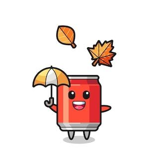 Desenho da lata de bebida fofa segurando um guarda-chuva no outono, design de estilo fofo para camiseta, adesivo, elemento de logotipo