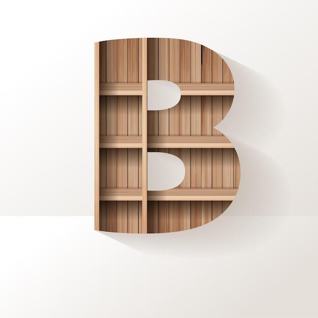 Desenho da letra b da prateleira de madeira