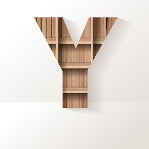 Desenho da letra y da prateleira de madeira