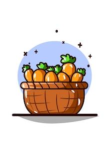 Desenho da mão da ilustração da cesta de cenoura