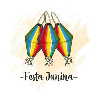 Desenho da mão da lanterna para festa junina