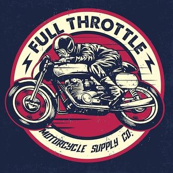 Desenho da mão do homem que monta uma motocicleta clássica do racer do café