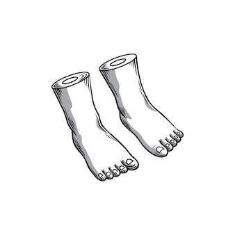 Desenho da mão do pé