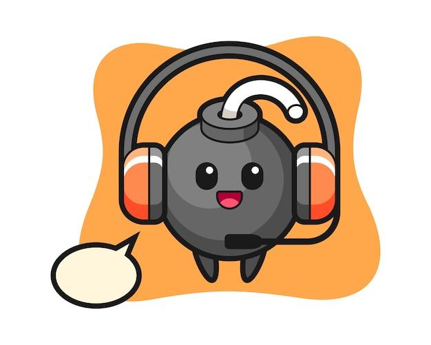 Desenho da mascote da bomba como serviço ao cliente