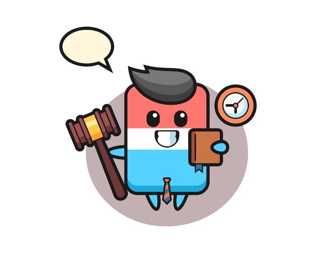 Desenho da mascote da borracha como juiz, estilo fofo, adesivo, elemento de logotipo