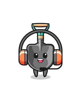 Desenho da mascote da pá como serviço ao cliente, design fofo
