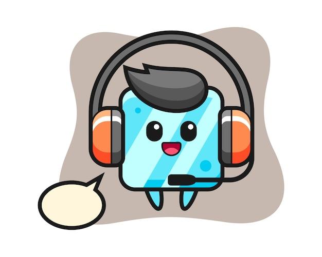 Desenho da mascote do cubo de gelo como serviço ao cliente