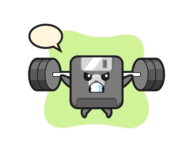 Desenho da mascote do disquete com uma barra, design de estilo fofo para camiseta, adesivo, elemento de logotipo