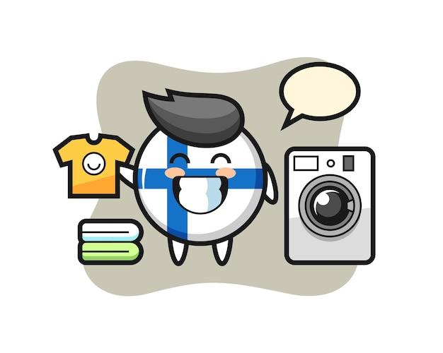 Desenho da mascote do distintivo da bandeira da finlândia com máquina de lavar, design de estilo fofo para camiseta, adesivo, elemento de logotipo