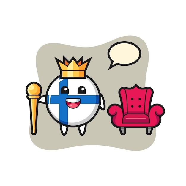 Desenho da mascote do distintivo da bandeira da finlândia como um rei, design de estilo fofo para camiseta, adesivo, elemento de logotipo