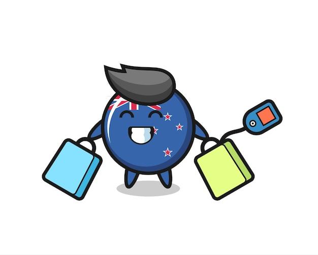 Desenho da mascote do distintivo da bandeira da nova zelândia segurando uma sacola de compras, design de estilo fofo para camiseta, adesivo, elemento de logotipo